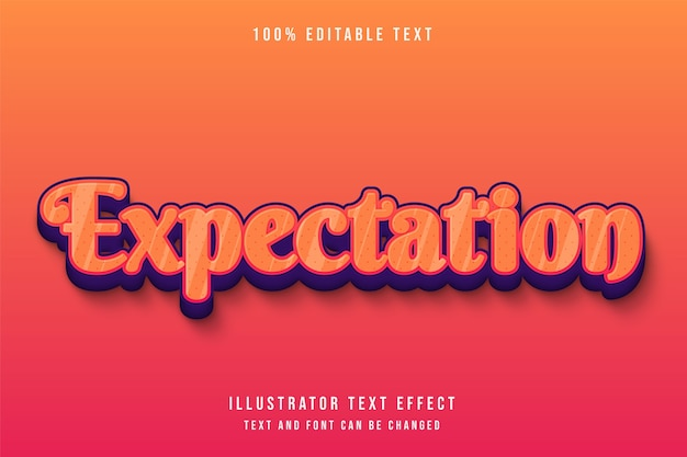 Erwartung, 3d bearbeitbarer texteffekt orange abstufung rot lila niedlich prägestil