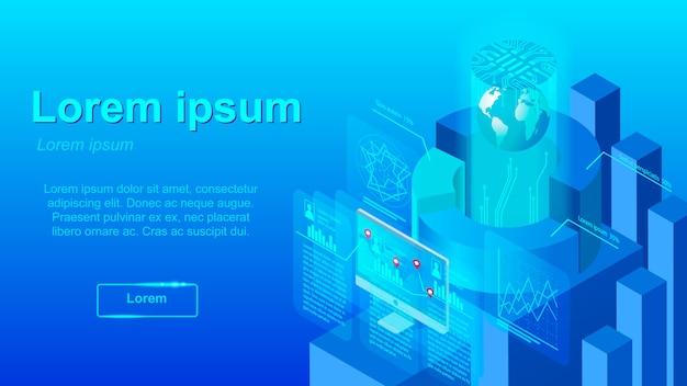 Erweiterte marketinganalyse-vektor-web-fahne
