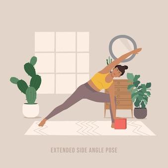 Erweiterte seitenwinkel-pose junge frau, die yoga-pose praktiziert
