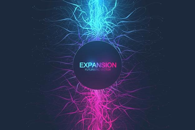 Erweiterung des lebens. bunter explosionshintergrund mit verbundener linie und punkten, wellenfluss. visualisierung quantentechnologie. abstrakte grafische hintergrundexplosion, bewegungsausbruch, illustration.
