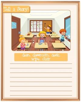 Erzählen sie eine geschichte klassenzimmerszene