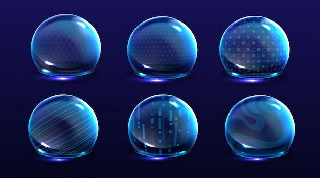 Erzwinge schildblasen, energieglühende kugeln oder verteidigungskuppelfelder. science fiction verschiedene deflektorelemente, firewall absoluter schutz isoliert