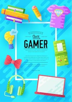 Es geeks plakat mit verschiedenen elementen