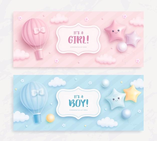 Es ist ein baby-dusche-banner für jungen oder mädchen