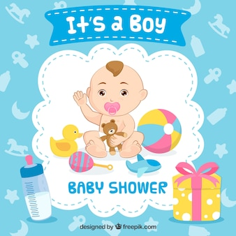 Es ist ein Junge-Baby-Dusche-Hintergrund