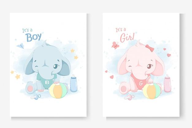 Es ist ein junge oder es ist eine mädchengrußkarte für babyparty mit einem kleinen niedlichen elefanten.