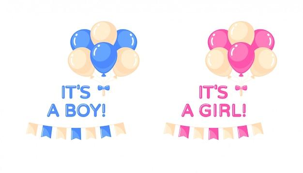 Es ist ein mädchen, es ist ein junge mit luftballons und flaggen. babyparty-gestaltungselement. isolierte illustration