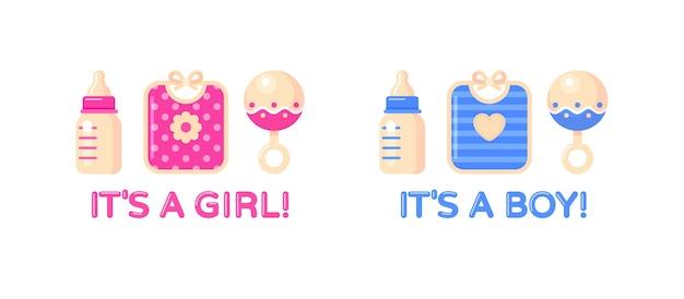 Es ist ein mädchen, es ist ein junge mit milchflasche, lätzchen und rassel. babyparty-gestaltungselement.