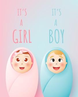 Es ist ein mädchen, es ist ein junge. nettes baby und mädchen mit pastellentwurf und papierkunst vector illustration