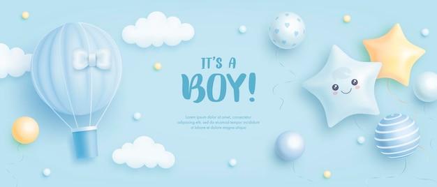 Es ist eine einladung zur babyparty für jungen