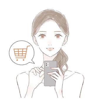 Es ist eine frau, die mit einem smartphone online einkauft.