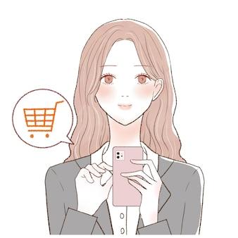 Es ist eine frau im anzug, die mit ihrem smartphone einkauft.