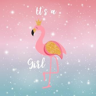 Es ist eine mädchen-flamingo-prinzessin am nachthimmel