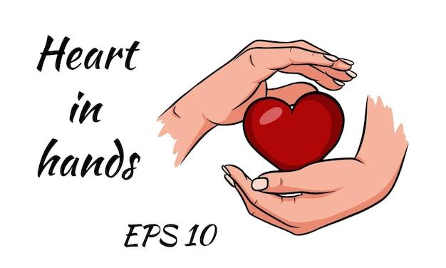 Es ist für den valentinstag abgesagt. hände halten ein rotes herz.