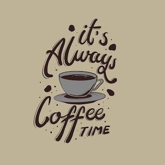 Es ist immer kaffee zeit zitat illustration