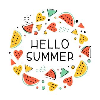 Es ist sommerzeit handgezeichnete hipster mehrfarbige illustration mit handgeschriebener beschriftung. sommerfahne, t-shirt, plakatkonzept. mehrfarbige abstrakte memphis-stil-designelemente und wassermelonen