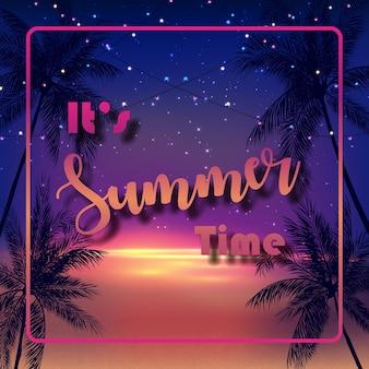 Es ist sommerzeit mit palmen am nachthintergrund