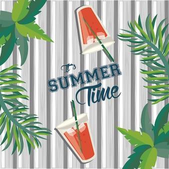 Es ist sommerzeitbeschriftung, tropische illustration