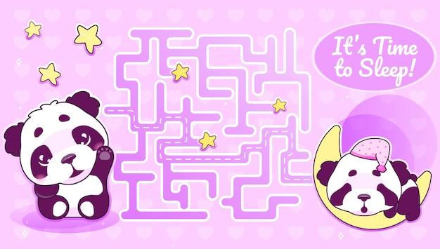 Es ist zeit, labyrinth mit zeichentrickfigur vorlage zu schlafen. winkender panda findet pfadlabyrinth mit lösung für pädagogisches kinderspiel. tier schläft auf halbmond druckbare flache anordnung