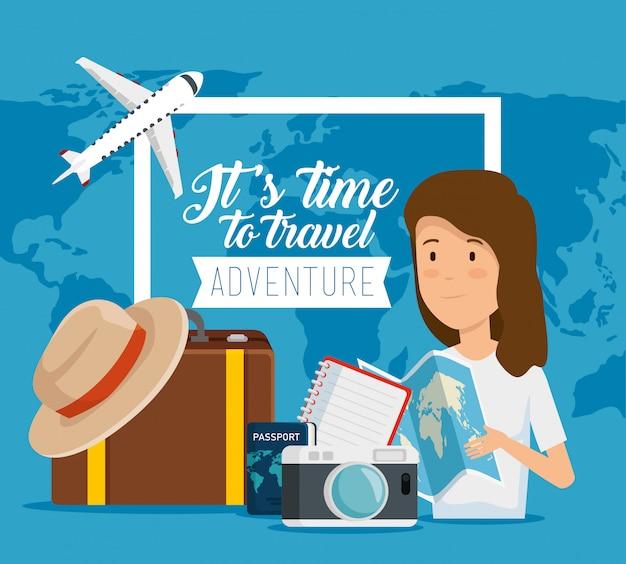 Es ist zeit zu reisen. frau mit globalem globalem und reisegepäck