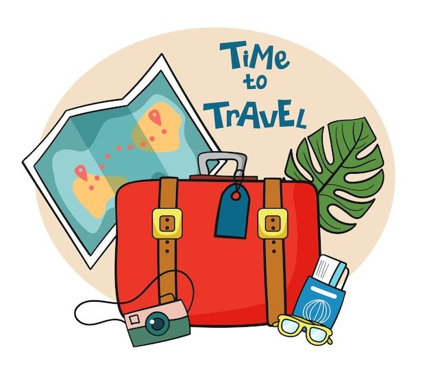 Es ist zeit zu reisen reise nach world vacation roadtrip tourismus reisebanner