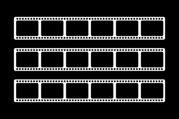 Es werden drei weiße videofilme in verschiedenen größen gezeigt