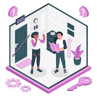 Escape room konzept illustration concept