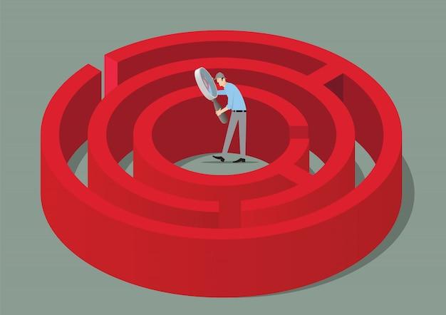 Escape room spielkonzept. mann mit lupe, die die lösung eines labyrinths findet.