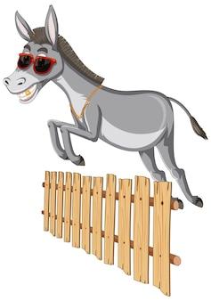 Esel springt über einen zaun