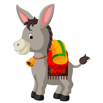 Esel trägt eine große tasche