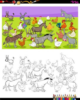 Esel und hühner zeichen farbbuch