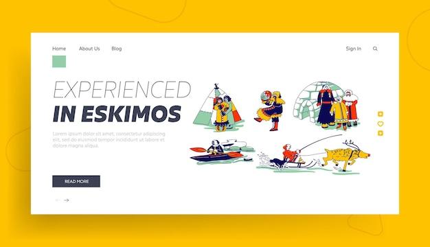 Eskimo-charaktere in der landingpage-vorlage der traditionellen kleidung und der arktischen tiere. mutter, vater und kind der familie esquimau