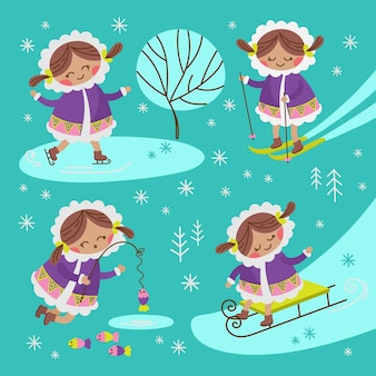 Eskimo mädchen alaska winter kind charaktere comic funny flat design cartoon hand gezeichnet