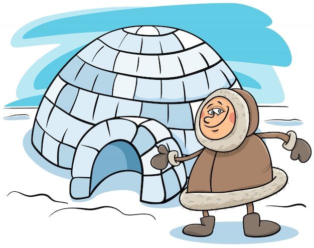Eskimo mit iglu-karikaturillustration