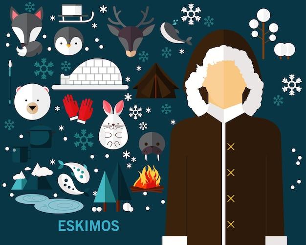 Eskimos konzept hintergrund