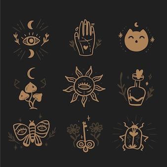Esoterische elemente skizzieren das konzept im dunkeln