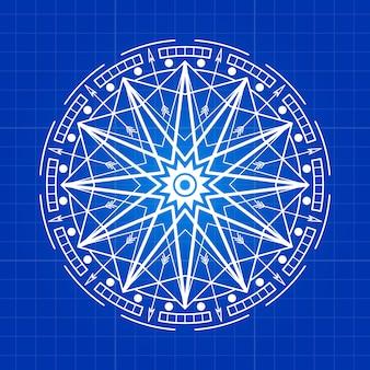Esoterische geheimniszeichenzeile auf blauem hintergrund