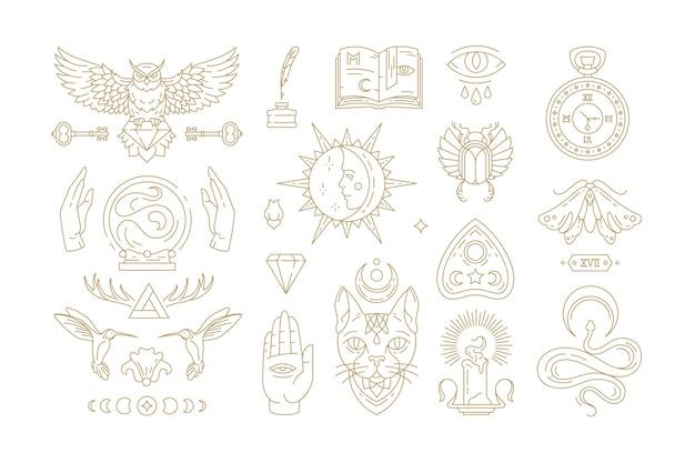 Esoterische und mystische lineare symbole setzen illustrationen