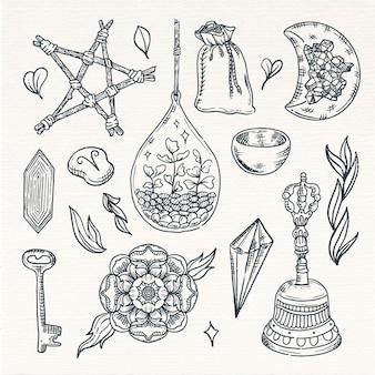 Esoterische vintage sepia-skizzenelemente