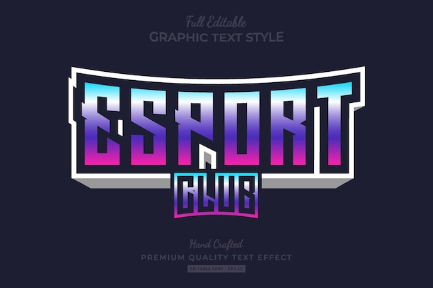 Esport club bearbeitbarer premium-texteffekt mit farbverlauf