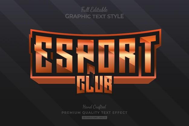 Esport club orange bearbeitbarer premium-texteffekt-schriftstil