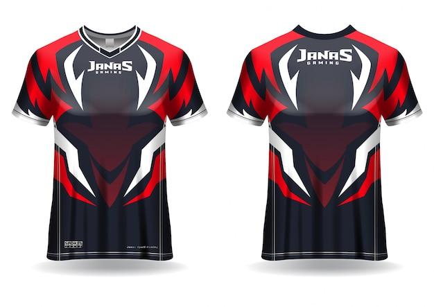 Esport gaming t-shirt trikot vorlage, uniform, vorder- und rückansicht