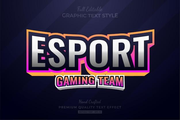 Esport gradient gaming team bearbeitbarer texteffekt-schriftstil