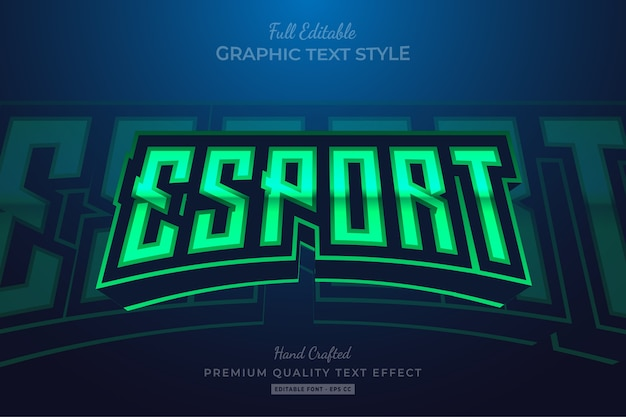 Esport green bearbeitbarer premium-textstil-effekt