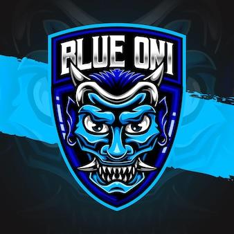 Esport-logo blaues oni-masken-charaktersymbol