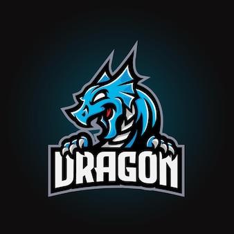 Esport-logo des drachenmaskottchens