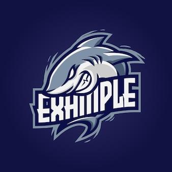 Esport-logo des hai-maskottchens