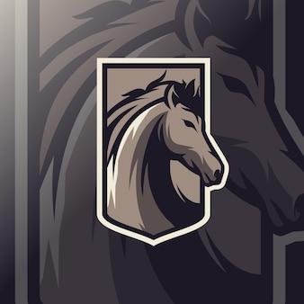Esport-logo des pferdemaskottchens