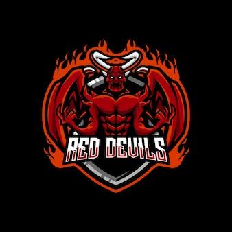 Esport-logo des roten teufels