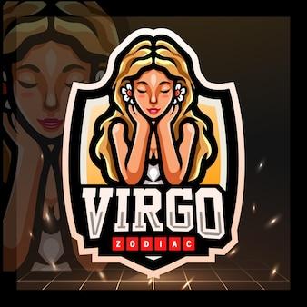 Esport-logo-design des maskottchens jungfrau sternzeichen